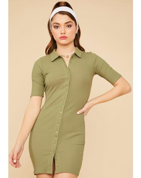 Sage Bet On This Button Down Dress
