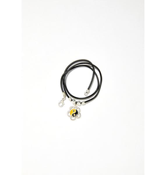 The Cobra Snake Flower Power Yin Yang Necklace