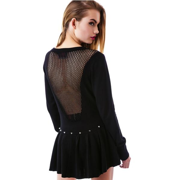 Lilith Spiked Fishnet Cardigan
