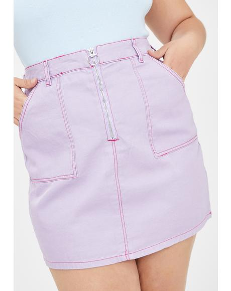 BB Contrast Stitch Cigarette Skirt