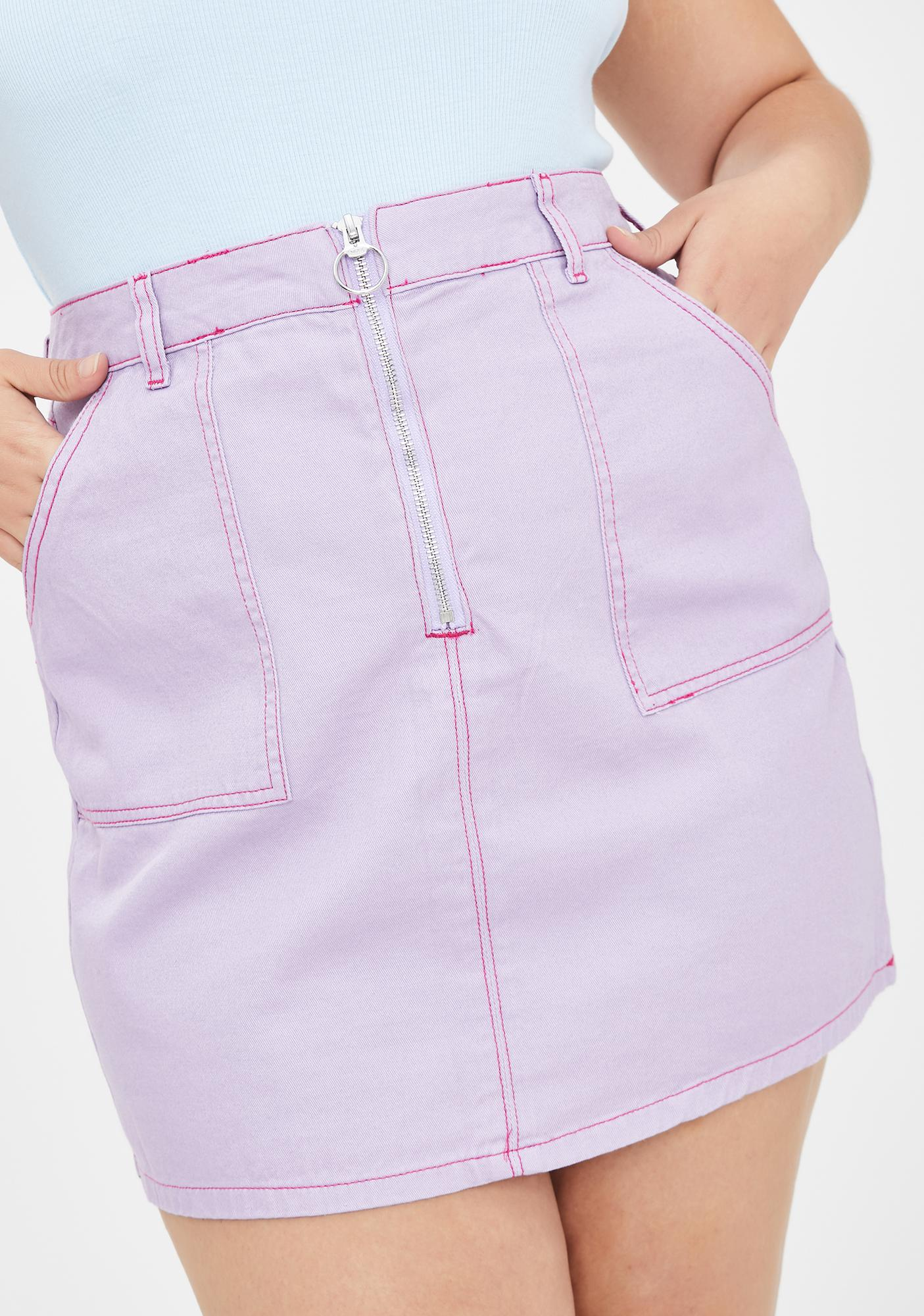 Bb Contrast Stitch Cigarette Skirt by Lazy Oaf