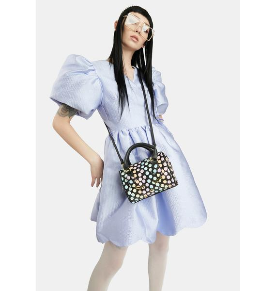 Betsey Johnson Polka Dot Kitty Kitsch Barrel Bag