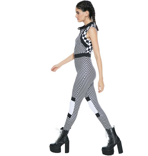 Fast Pace Checkered Jumpsuit
