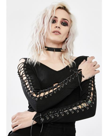 Dark Legends Lace Up Top