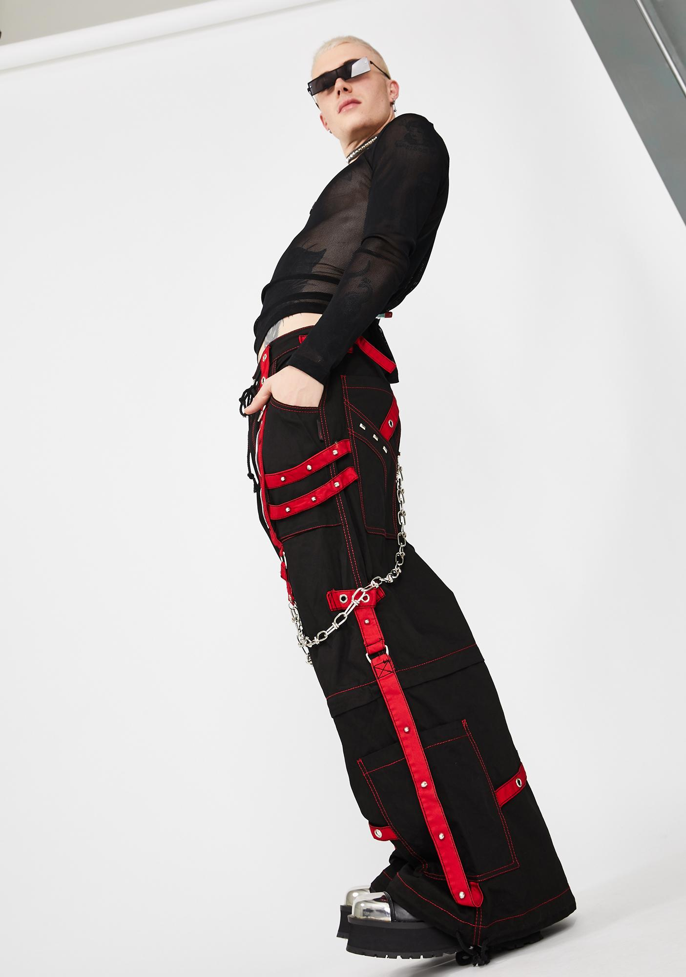 Tripp NYC Black Red Chain And Zipper Pants