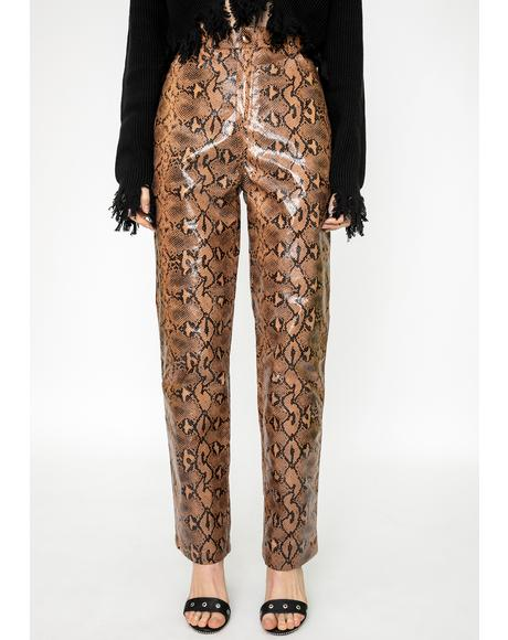 Slash Snakeskin Pants