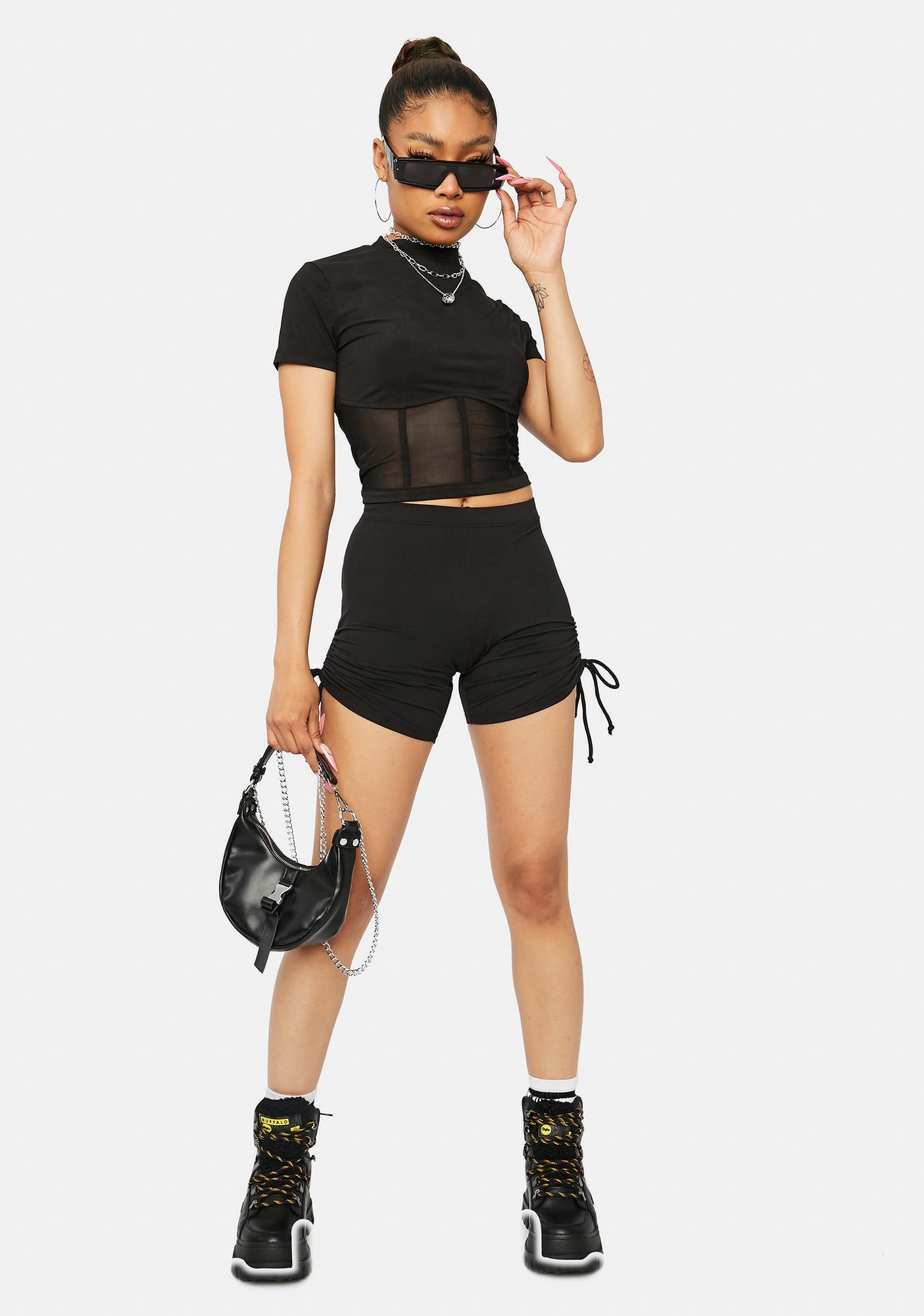 By Chance Mesh Mock Neck Top