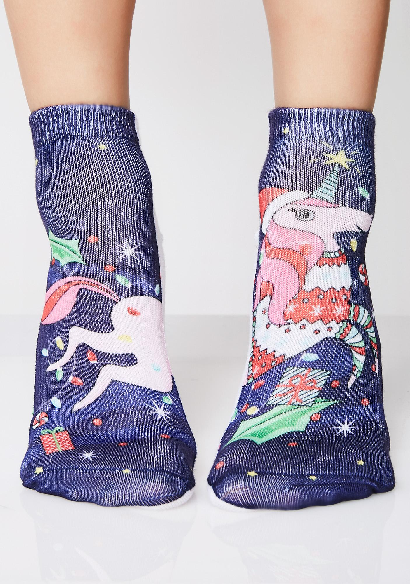 Christmas Unicorn Ankle Socks