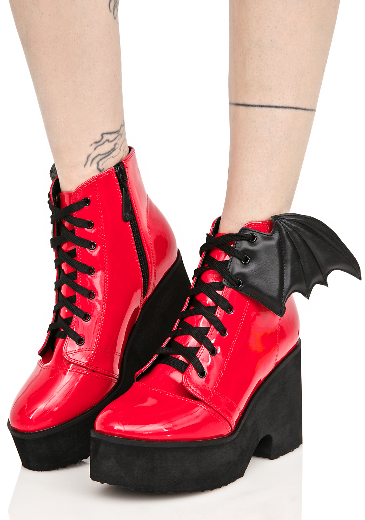 Iron Fist Patent Blood Bat Wing Platform Boots