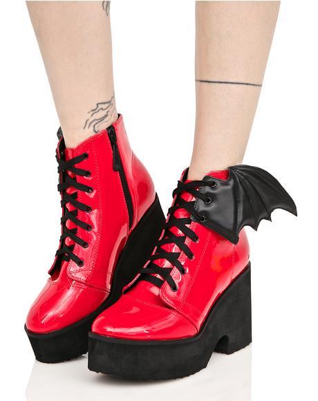 Patent Blood Bat Wing Platform Boots