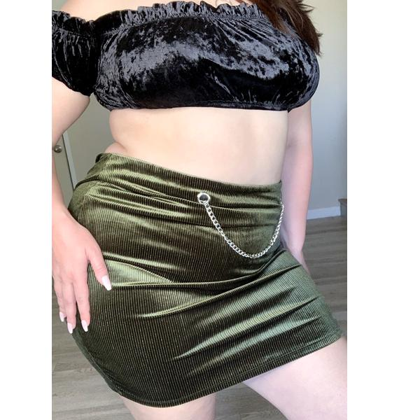Olive Wild Waiting Game Mini Skirt