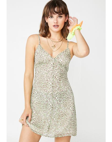 Lime Hey Kitty Gal Leopard Dress