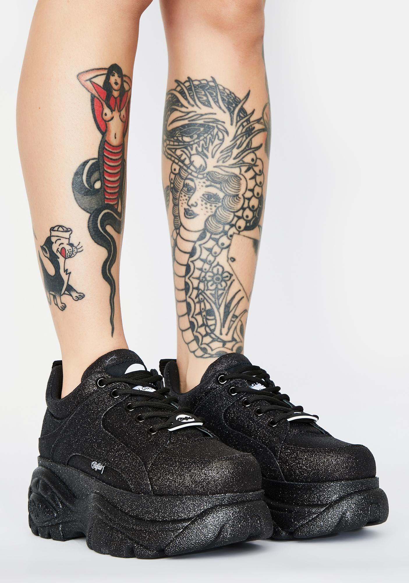 Buffalo London Black Glitter Classic Low Leather Sneakers