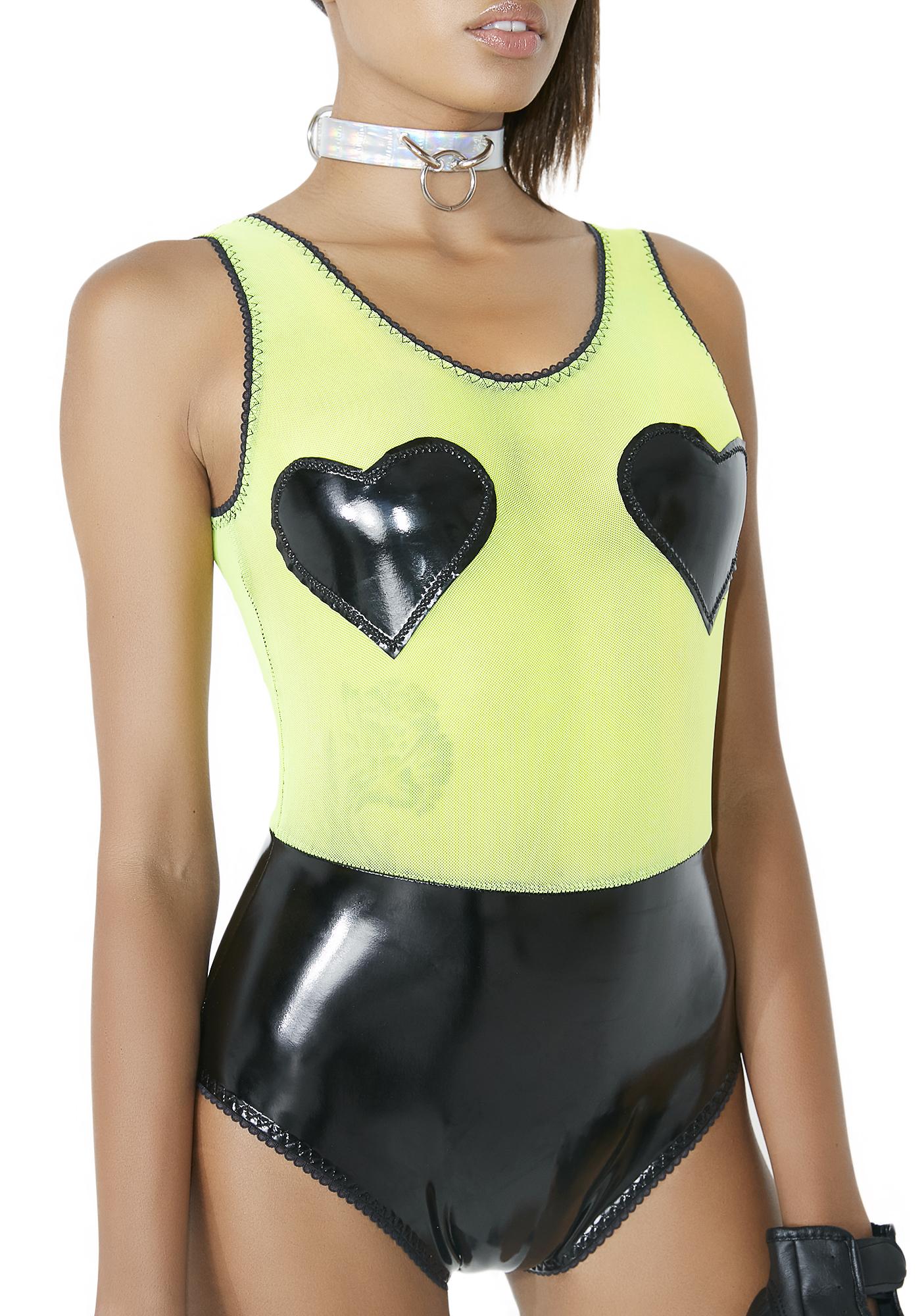 Neon Sheer Latex Bodysuit Heart Appliques Black