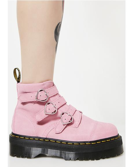 X Lazy Oaf Pink Lo Buckle Boots