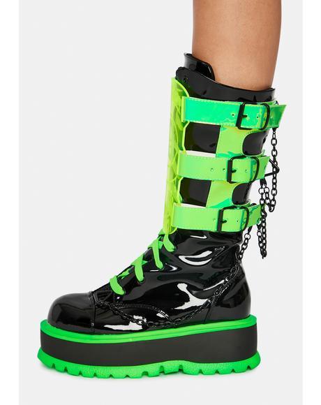 Slime Monster UV Reactive Boots