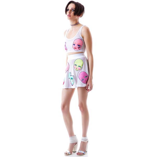 Coveted Society Doll Face Skater Skirt