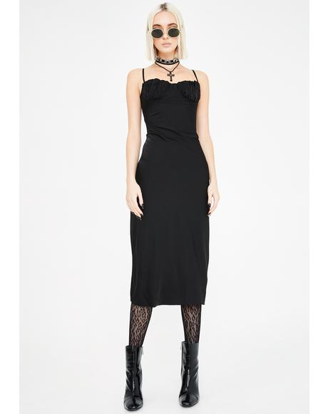 Black Christy Bustier Midi Dress
