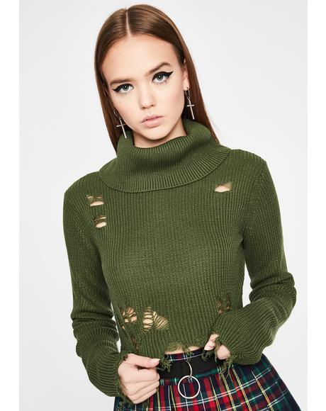 Olive Beyond Distressed Cropped Sweater