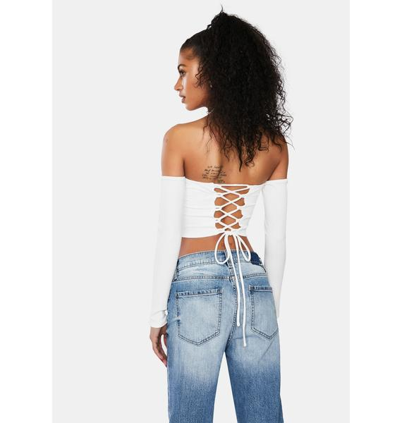 Snow Something Sudden Off Shoulder Crop Top