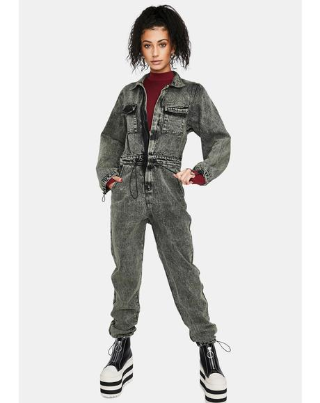 Acid Wash Oversized Denim Boilersuit