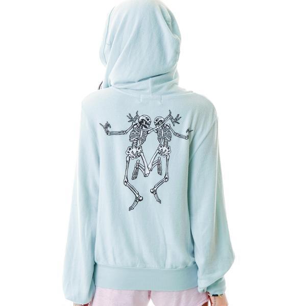 Wildfox Couture Skeleton Dance Malibu Zip Up