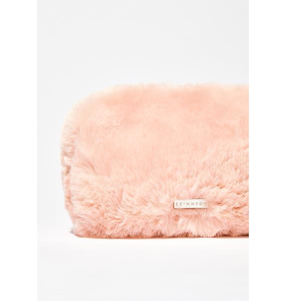 Skinnydip Cotton Candy Faux Fur Makeup Bag