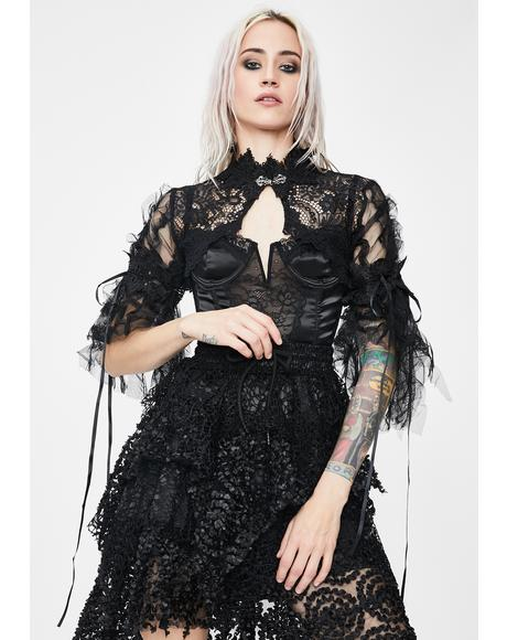 Sheer High Neck Lace Cape