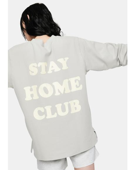 Stay At Home Club Long Sleeve Pocket Tee