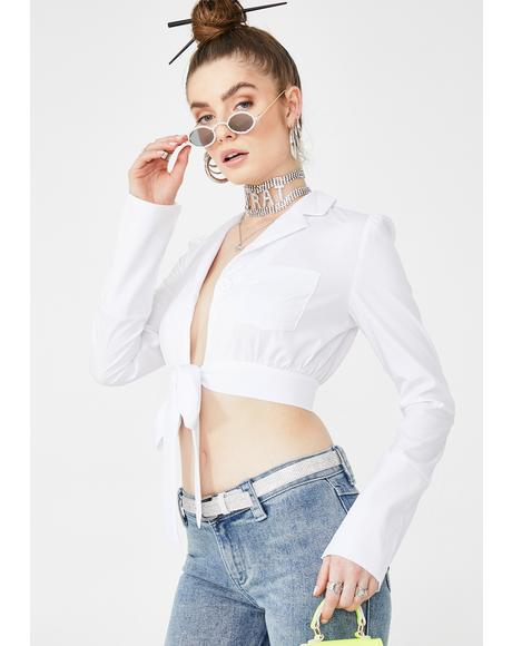 White Cotton Tie Up Blouse
