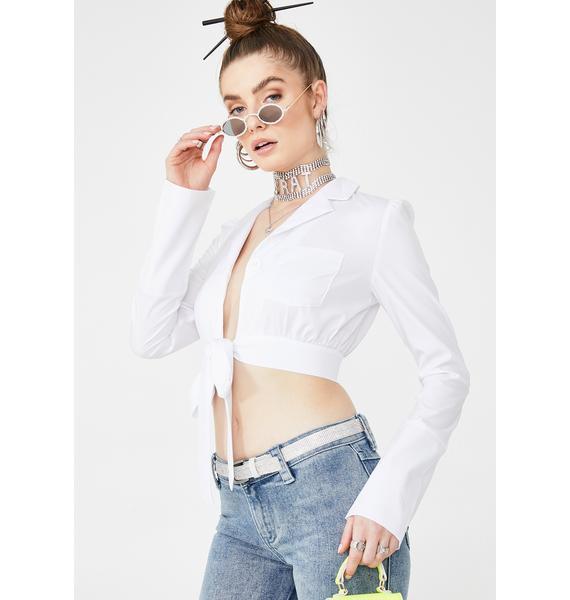ZEMETA White Cotton Tie Up Blouse
