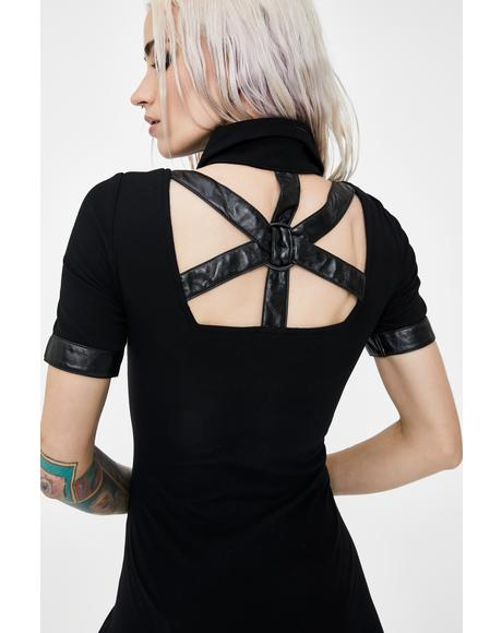 Punk Button Up Cross Back Mini Dress