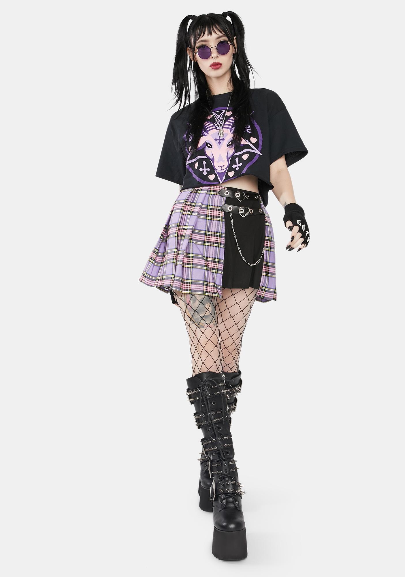 Dark In Love Purple Checkered Splice Pleated Skirt