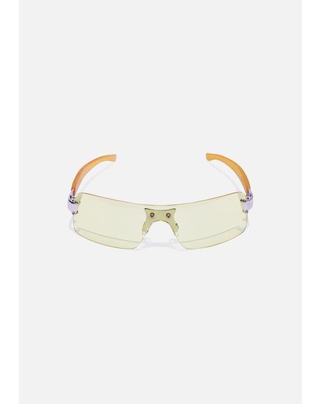 Pale Yellow Shield Sunglasses