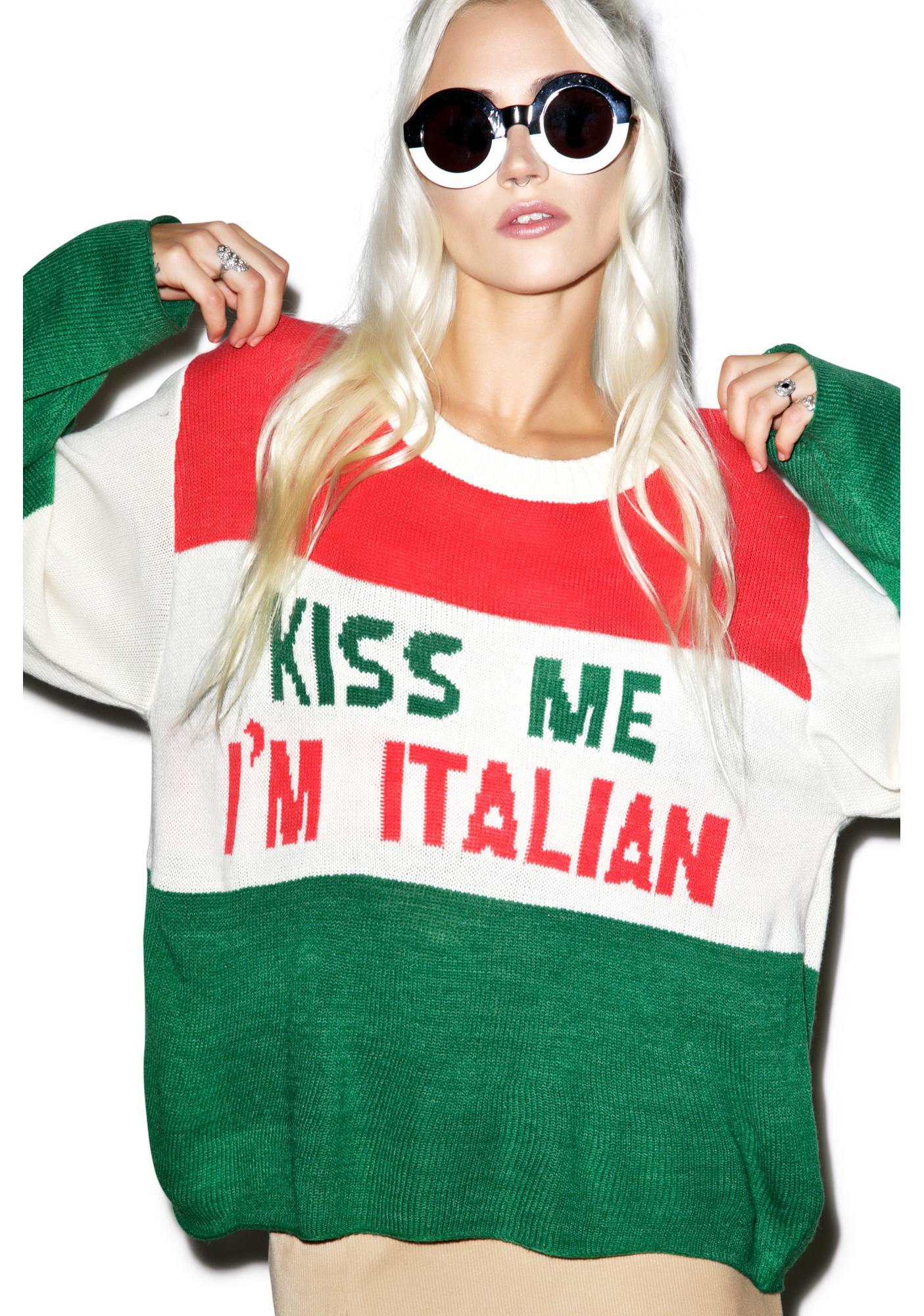 ca56cb310a0 Wildfox Couture Kiss Me I'm Italian Vineyard Sweater | Dolls Kill