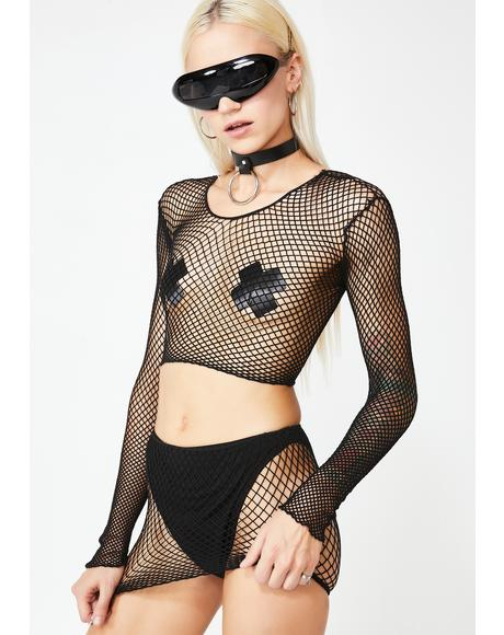 Mind Your Business Fishnet Set