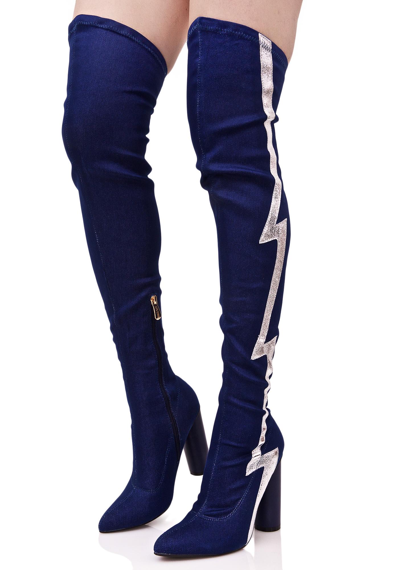 Denim Silver Zig Zag Thigh High Boots