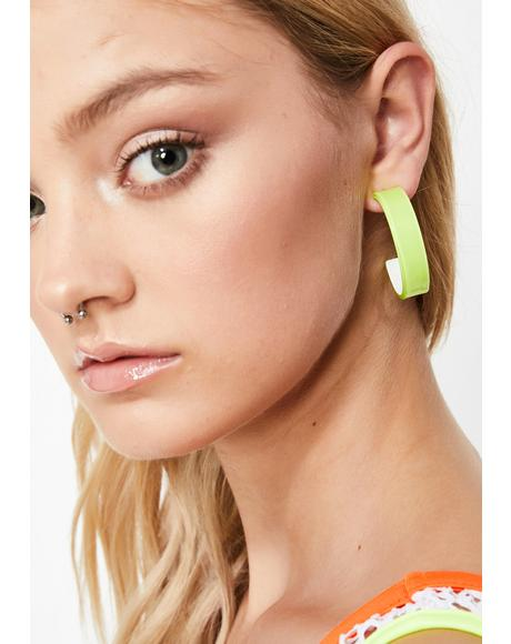 Lime Candy Couture Hoop Earrings