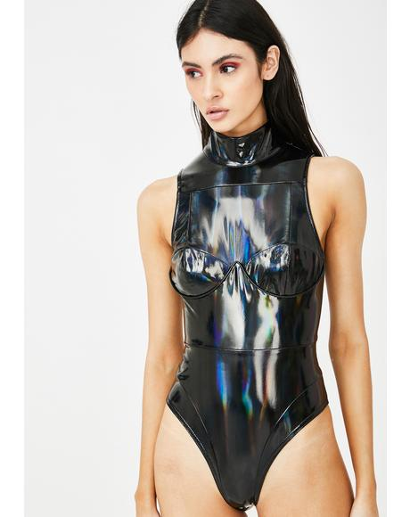 Black Holographic High Neck Bodysuit