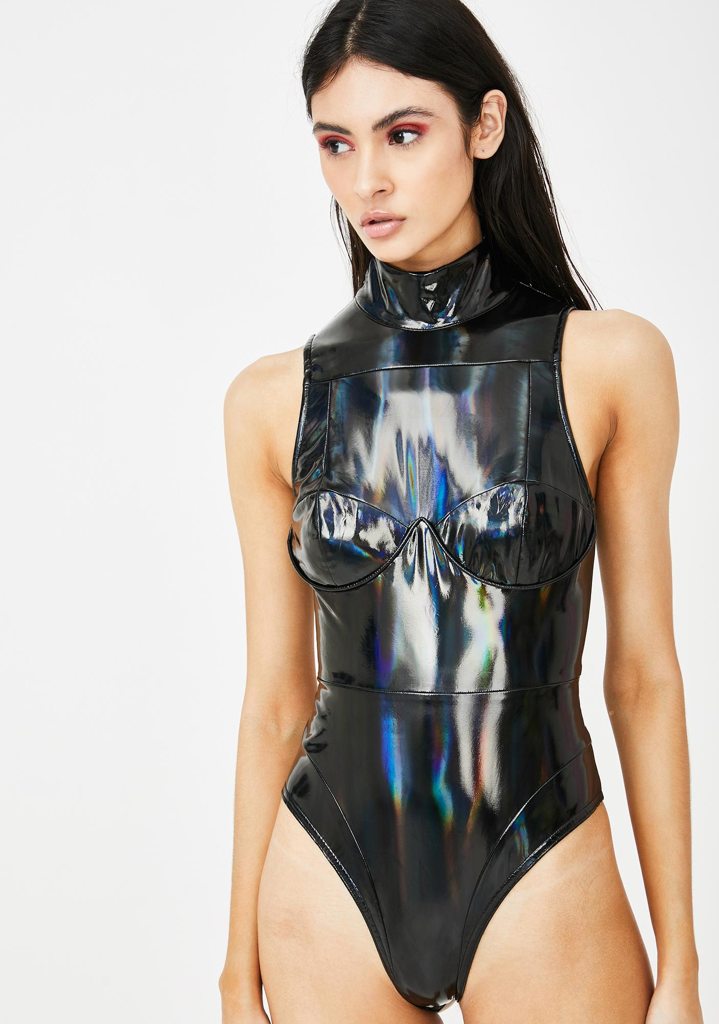 Jaded London Black Holographic High Neck Bodysuit