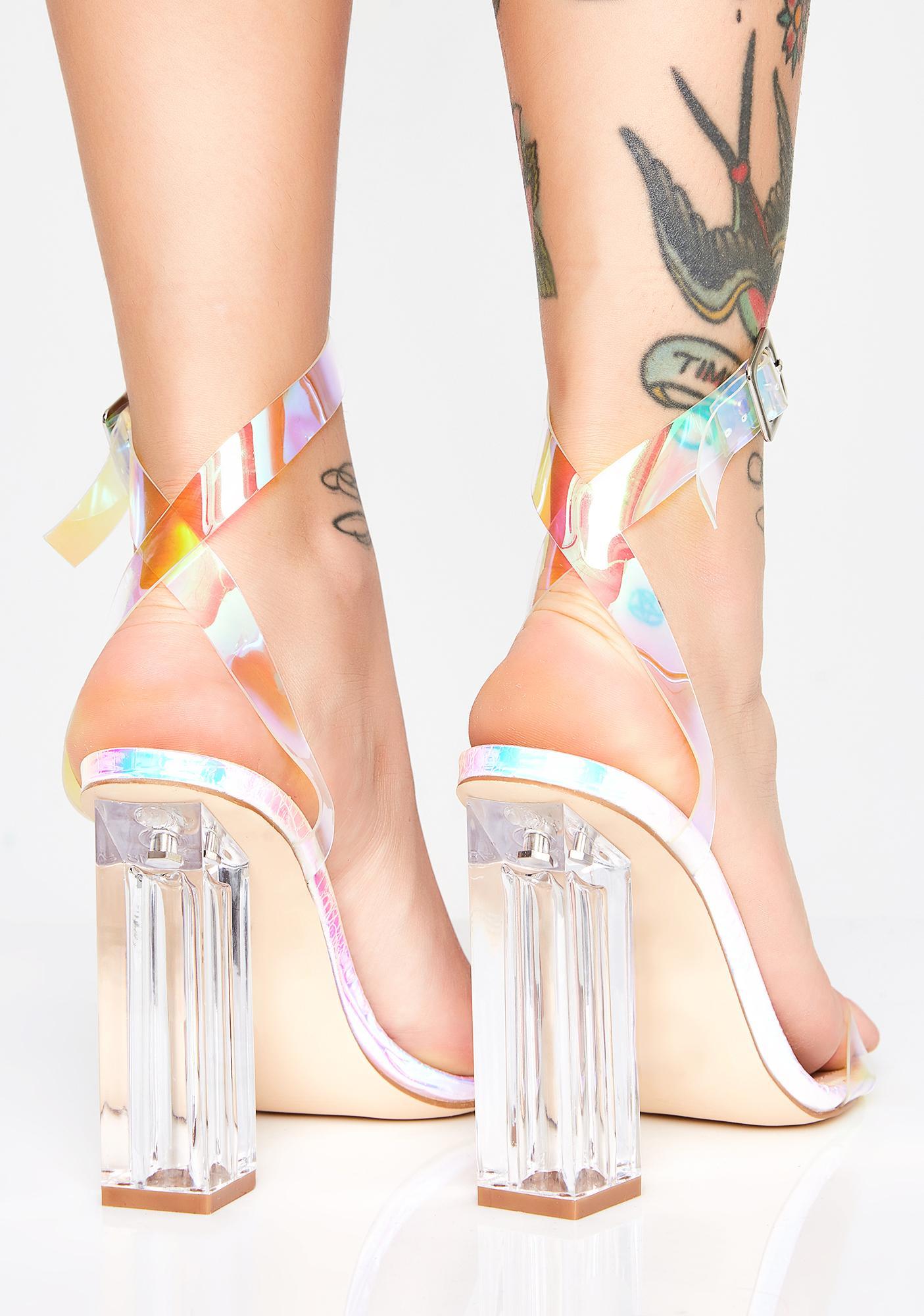 6e1f280410 Iridescent Clear Strappy Heels | Dolls Kill