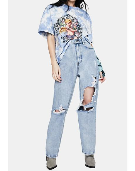 Light Wash Distressed High Waist Boyfriend Jeans