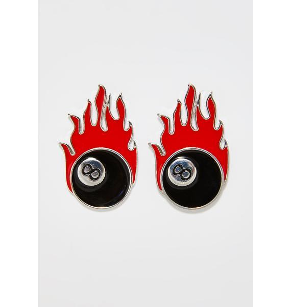 Devil's Chance 8 Ball Earrings