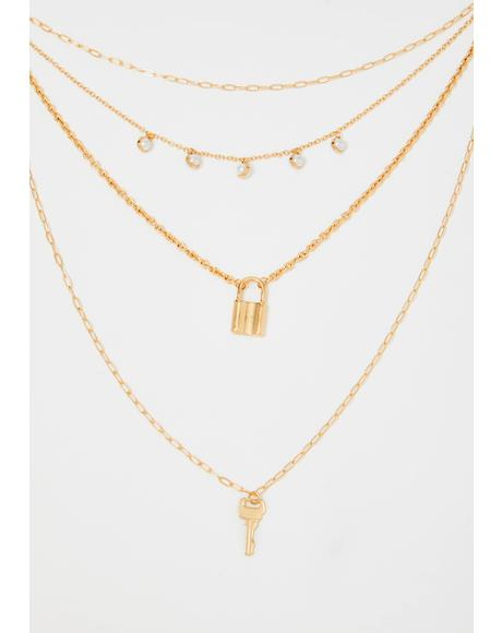 Under Lock N' Key Charm Necklace