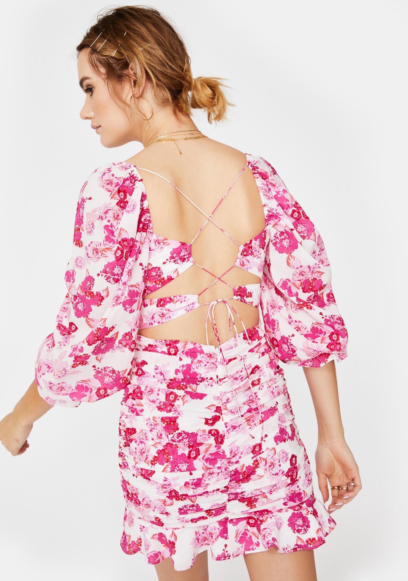 For Love & Lemons Oahu Ruched Mini Dress