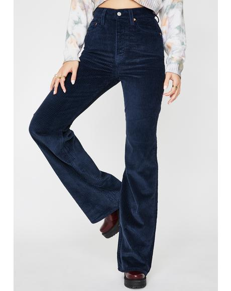 Navy Blue Ribcage Wide Leg Corduroy Pants