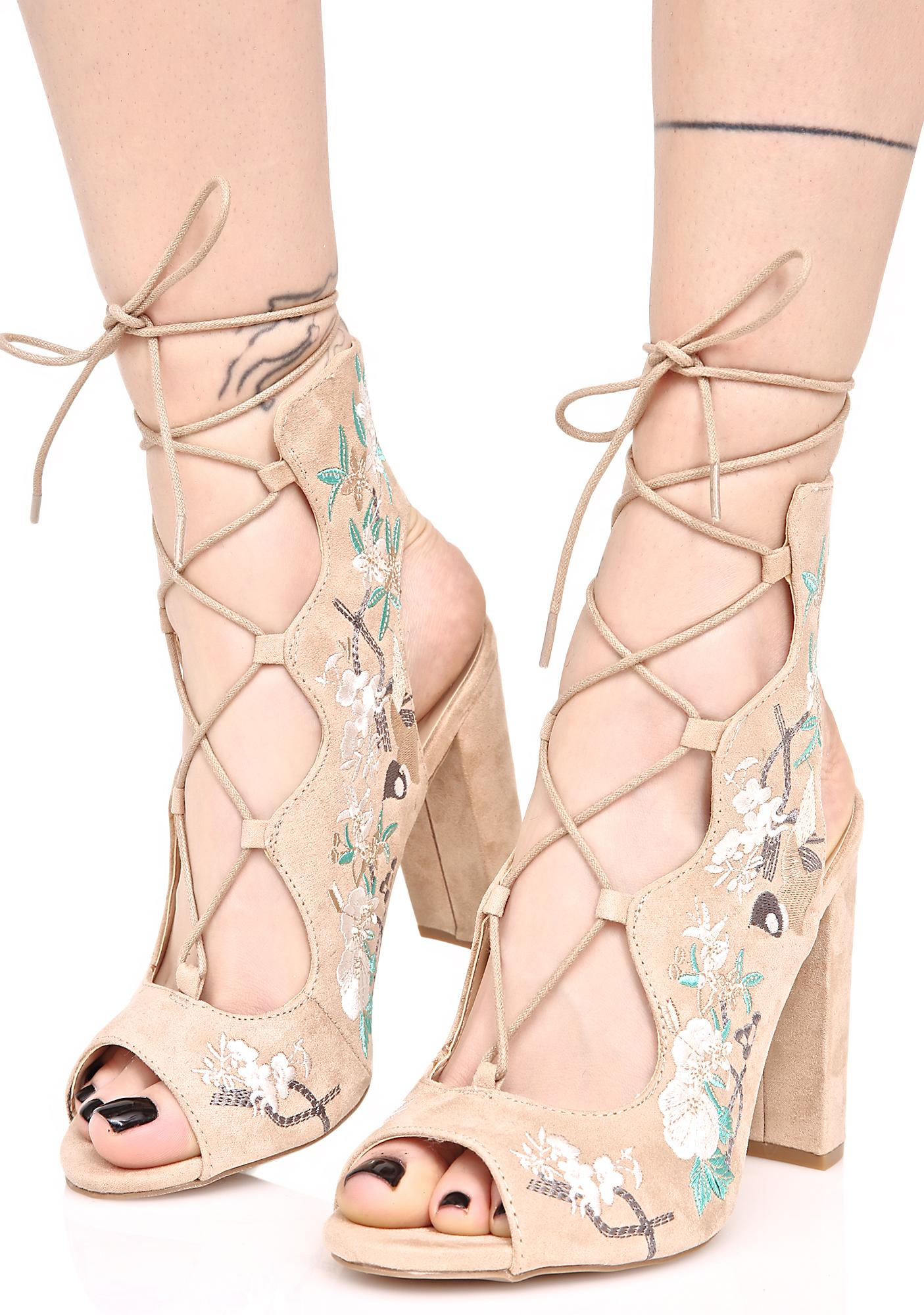Artemis Floral Lace-Up Heels