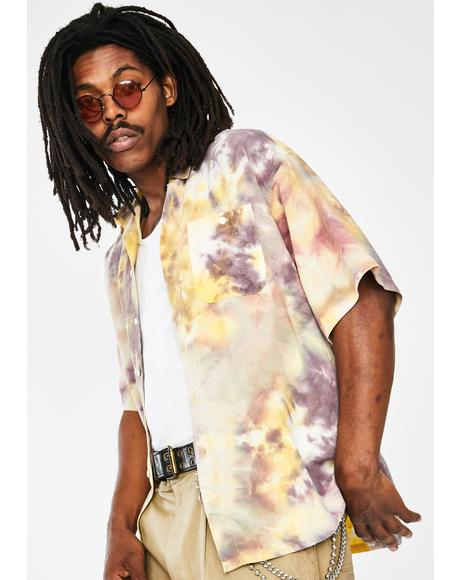 Yellow Tie Dye Button Up Shirt