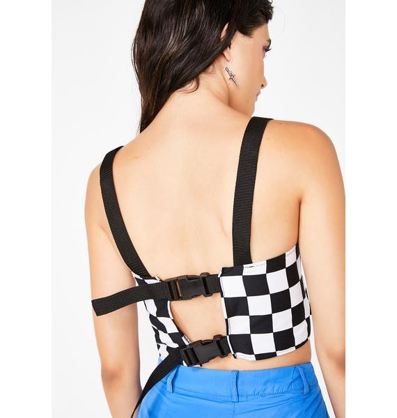 Tiar Checkered Strappy Top