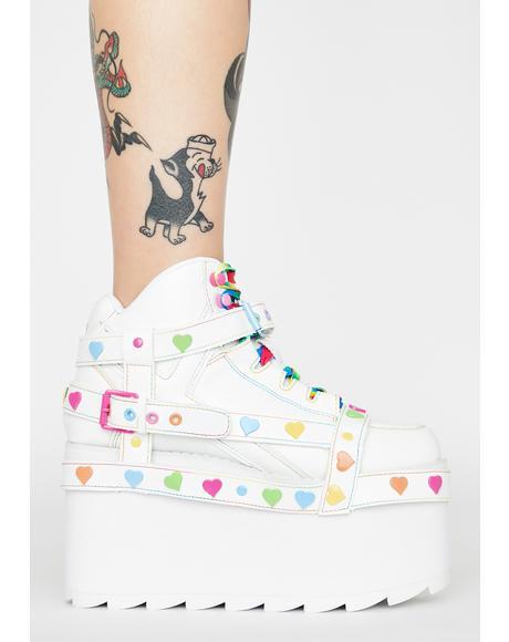 White Qozmo Bondage Rainbow Heart Platform Sneakers